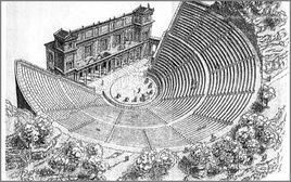 Assonometria di un tipico teatro greco del periodo ellenistico. Fonte: Francesco Corni