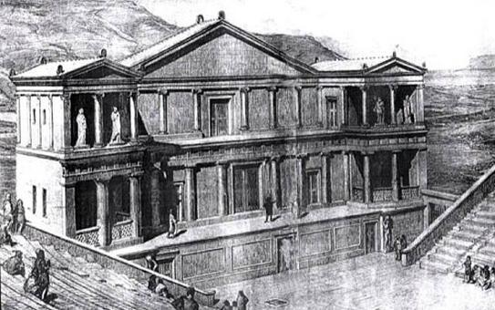 Disegno di H. Wirsing (1925): Ricostruzione edificio scenico del teatro di Segesta. Fonte: Siciliasud