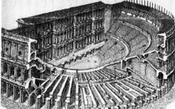 Assonometria di un tipico teatro romano dell'età imperiale. Fonte: Francesco Corni