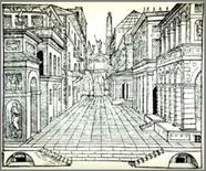 Sebastiano Serlio, La scena tragica, 1545. Fonte: Vitruvio.ch