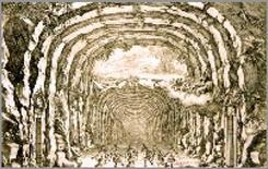 Giacomo Torelli, scena per le Nozze di Peleo e Teti, Parigi 1654. Fonte: operabaroque.fr