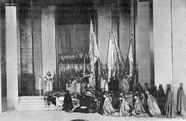 E. G. Craig, scena finale di Amleto, Moscow Art Theatre 1911. Fonte: Wikimedia Commons