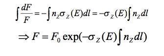 Integrating over length from source.