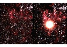 SN1987A before (left) and after (right) the Supernova explosion.