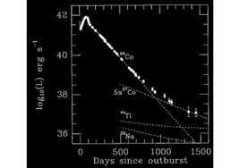 The lightcurve of SN1987A. The contributions of the different decaying radioactive elements, add up to form the total luminosity at any given timescale.