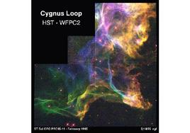 A small part of the Cygnus loop supernova remnant, expanding from left to right. The Hubble image is courtesy of NASA
