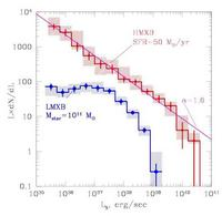Luminosity functions of High and Low Mass X-ray binaries (from Gilfanov 2004).