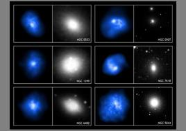 A gallery of optical (white) and X-ray (blue) images of Elliptical galaxies.