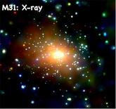 X-ray image of M31: combination of point sources (X-ray binaries) and diffuse hot gas (~106-107K). Credit: NASA/UMass/Z.Li & Q.D.Wang.