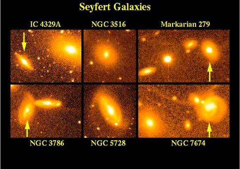 "This montage uses ground-based wide-field images to exhibit the variety of types and environments in which Seyfert are found. Of these, IC 4329A, NGC 3516, and Markarian 279 are type 1 Seyferts, NGC 3786 is an intermediate ""type 1.5″ nucleus"", and NGC 5728 and NGC 7674 are type 2 objects."