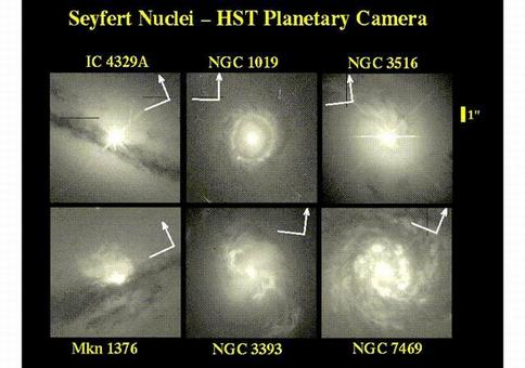 Seyfert galaxies were originally noted as having unusually bright, compact (starlike) nuclei. Some of these are shown in this selection of closeups taken with Hubble Space Telescope. In many of these, the nuclei are strongly overexposed to show the surrounding galaxy, producing diagonal diffraction spikes and other image artifacts.