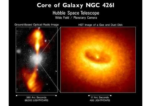 A Hubble Space Telescope image of a giant disk of cold gas and dust fueling a possible black hole at the core of the galaxy. The disk is tipped enough (about 60 degrees) to provide  a clear view of its bright hub, which presumably harbors the black hole.