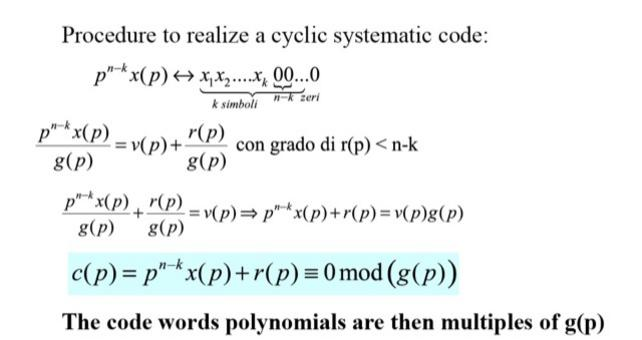 The code word polynomials are then multiples of g(p).