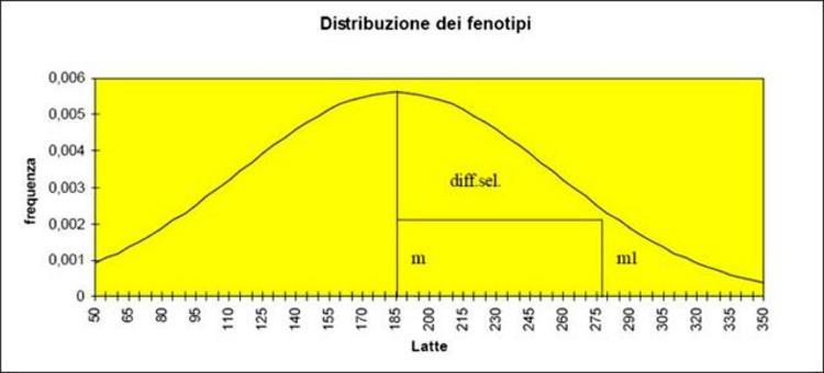 """Il differenziale selettivo è la differenza fra la media della popolazione """"m"""" e quella del gruppo selezionato """"m1""""."""