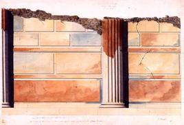 F. Travaglini, restituzione grafica del rilievo di un particolare della basilica di Pompei, 1842