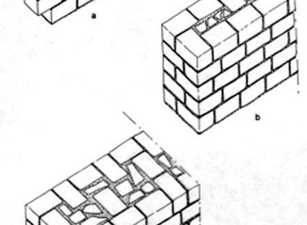 Tessiture murarie di tufo. A: ad una pietra (spianata); B: per spessori fino a circa 70 cm; C: per spessori superiori a 100 cm