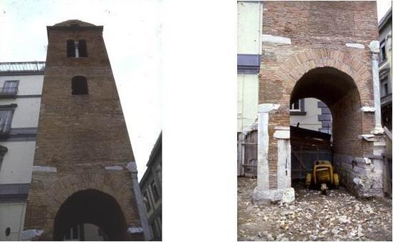 """Napoli, Campanile Pietrasanta. Muratura in mattoni a faccia vista con elementi di """"reimpiego dell'antico"""", collocati nei punti più sollecitati"""