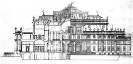 Palazzina di Stupinigi: sezione del corpo centrale della palazzina
