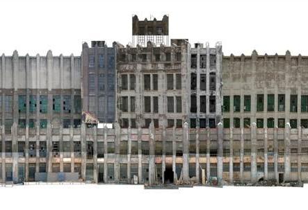 Napoli, ex fabbrica Cirio a Vigliena, fotoraddrizzamento del prospetto