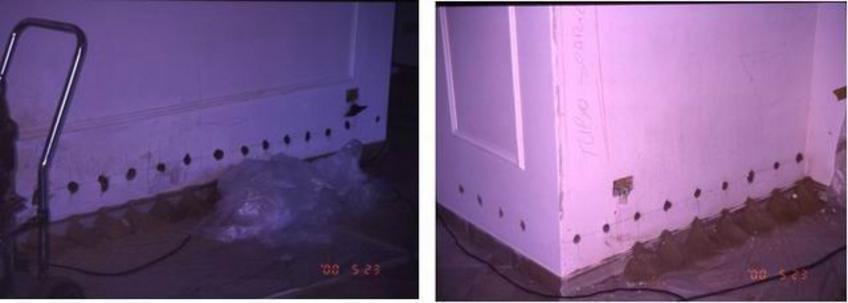 Intervento di risanamento con barriera chimica: la localizzazione dei fori sulla parete