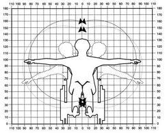 Schema antropometrico relativo alla persona su sedia a ruota.