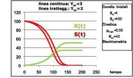 Figura 15– Profili concentrazione-tempo in un fermentatore discontinuo.