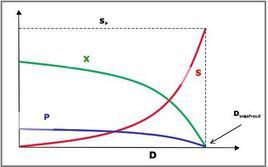 Figura 3 – Condizioni di regime stazionario in un reattore continuo miscelato al variare della dilution rate.