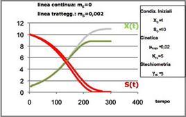 Figura 3 – Profili concentrazione-tempo in un fermentatore discontinuo. Effetto delle reazioni di mantenimento.