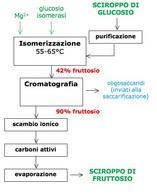 Figura 6 – Schema del processo di produzione del fruttosio mediante isomerizzazione del glucosio.
