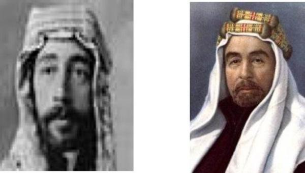 A sinistra: Faysal, re dell'Iraq. A destra: suo fratello Abdallah, emiro della Transgiordania