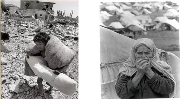 """Immagini fotografiche della """"Nakba"""" 1948-49: un bambino palestinese in fuga da un villaggio distrutto; un'anziana donna palestinese in uno dei tanti campi"""