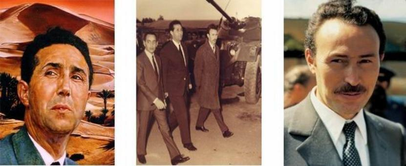 Ahmed Ben Bella (a sinistra); Houari Boumedienne (a destra); insieme (al centro)