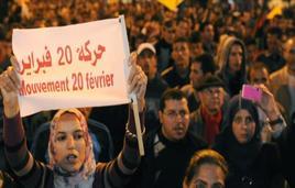 Manifestanti sfilano in corteo in Marocco. Fonte: Radio onda d'urto