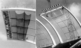 R. Piano, Stadio di Bari in costruzione, ibridazione tra costoloni e tensostrutture (1987-1990)