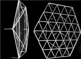 Strutture di studio di Robert Le Ricolais. Da sinistra: Starhex Hexacore e Trihex