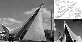 Il padiglione Philips all'expo di Bruxelles, 1958. Architetto Le Corbusier