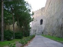"""Il fossato scavato nel """"tufo"""".  Continuità tra il podio roccioso in  arenaria e le strutture in elevazione   del castello."""