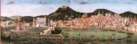 Il rapporto tra architettura, città e paesaggio a Napoli alla fine del Quattrocento, Tavola Strozzi 1464 (da Wikimedia Commons)