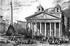 Il Pantheon, Roma, circa 1835 (da Wikimedia Commons).