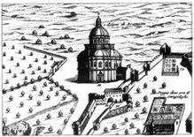 J. Blaeu, vista della Chiesa di S. Maria della Consolazione al di fuori della mura di Todi, 1663 (da  Wikimedia Commons).