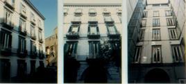 Elementi di continuità nell'impianto compositivo della facciata in muratura.