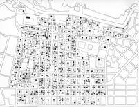 Scomposizione degli isolati dei Quartieri Spagnoli in unità edilizie, con indicazione di ingressi, chiostrine, vani scala (E. Carreri, A. M. Puleo, 1986).