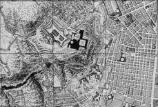 Maglia viaria regolare nei Quartieri Spagnoli di formazione cinquecentesca (stralcio Rizzi Zannoni, 1790, coll. privata).