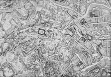 Isolati-recinto e assenza di regolarità nel tessuto edilizio extra-moenia (stralcio Rizzi Zannoni, 1790, coll. privata).
