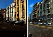 A sinistra, sequenza di palazzi. A destra, moderno inserimento nella cortina e l'edificio scolastico.
