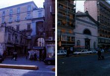 A sinistra, Porta S. Gennaro. A destra, la Chiesa di S. Maria delle Grazie tra due palazzi condominiali.