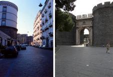 La torre della Caserma Garibaldi e Porta Capuana.