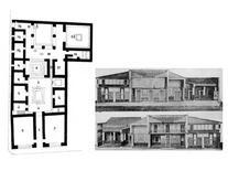 Casa del Poeta Tragico a Pompei. A sx la pianta tratta da Wikipedia, a dx le sezioni tratte da Wikipedia.