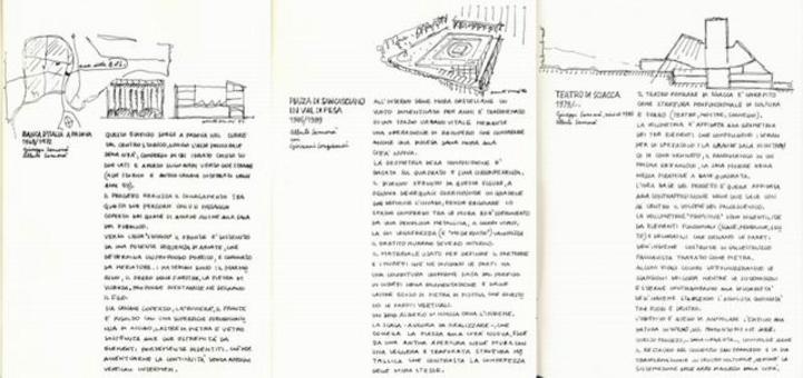 L'immagine riproduce alcune pagine del catalogo Dieci progetti, più uno, curato da Alberto Samonà. Al disegno delle opere si accompagna il testo esplicativo delle principali scelte progettuali.