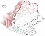 Spaccato assonometrico della chiesa-moschea di S. Sofia (da Wikimedia  Commons).